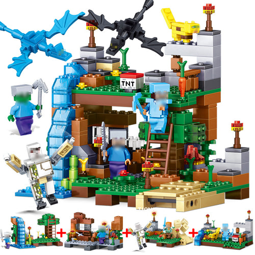 378pcs 4 in 1 MY WORLD Compatible Legoed Minecrafted