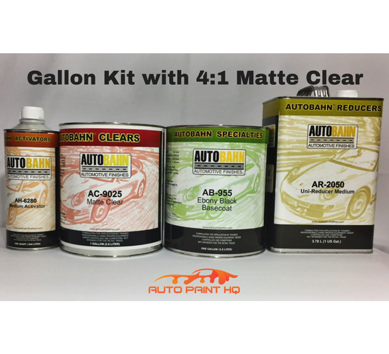 Satin Black Basecoat Clearcoat Gallon Kit