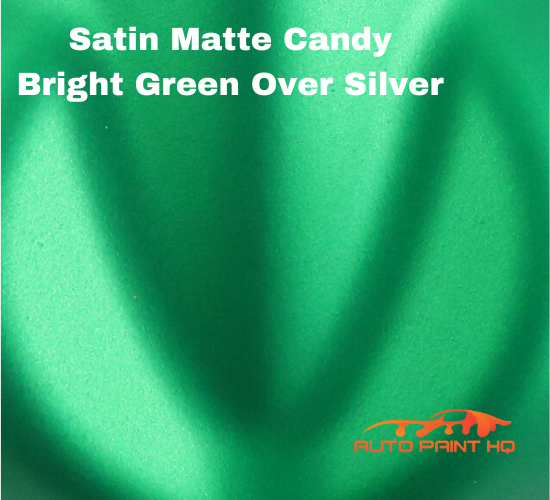 Satin Flat Candy Bright Green Over Silver Basecoat Tri-coat Quart Auto Paint Kit