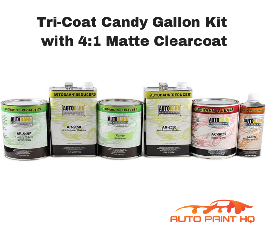 Satin Flat Candy Amber Over Silver Basecoat Tri-Coat Gallon Car Auto Paint Kit