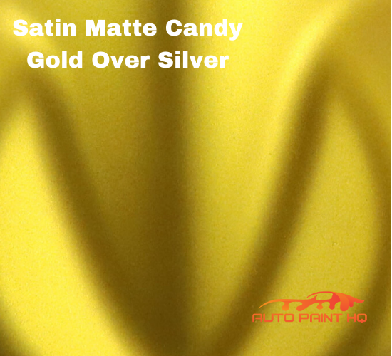 Satin Flat Candy Gold Over Silver Basecoat Tri-coat Quart Car Auto Paint Kit