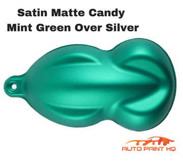 Satin Flat Candy Mint Green Over Silver Basecoat Tri-coat Quart Auto Paint Kit