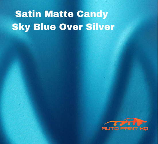 Satin Flat Candy Sky Blue Over Silver Basecoat Tri-coat Quart Car Auto Paint Kit