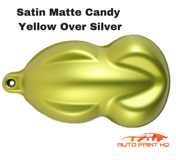 Satin Flat Candy Yellow Over Silver Basecoat Tri-coat Quart Car Auto Paint Kit
