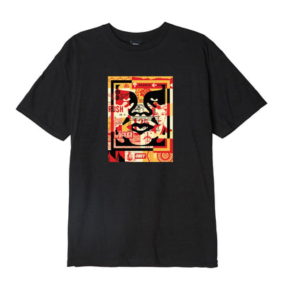 3 Face Collage Basic Tee Black | OBEY Clothing