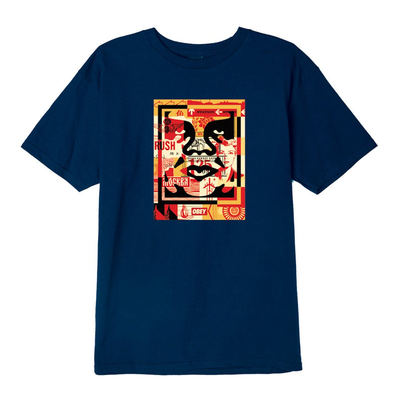3 Face Collage Basic Tee Navy | OBEY Clothing