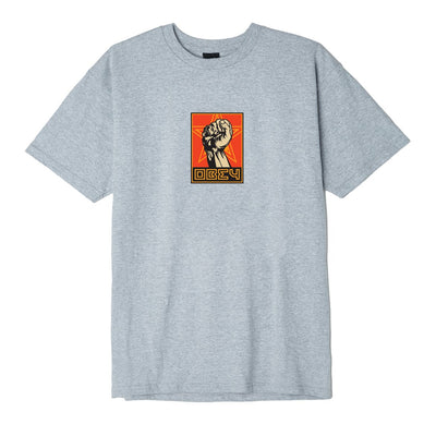 OBEY Fist 30 Years Basic Tee Heather Grey | OBEY Clothing