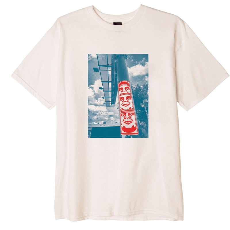 3 Face Clouds Basic T-Shirt Natural | OBEY Clothing