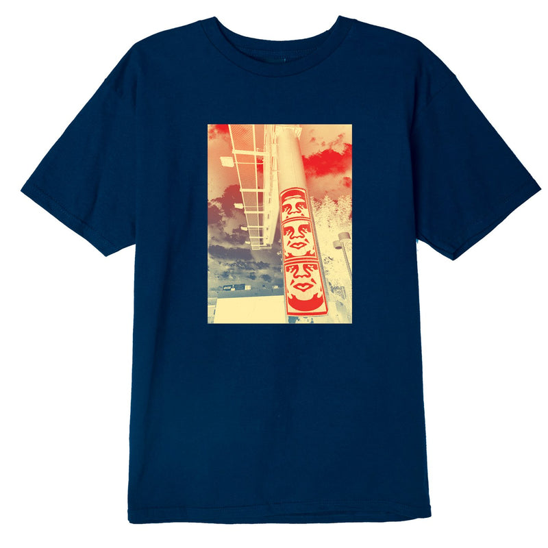 3 Face Clouds Basic T-Shirt Navy | OBEY Clothing
