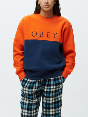 Sonora Crewneck Flame Orange Navy | OBEY Clothing