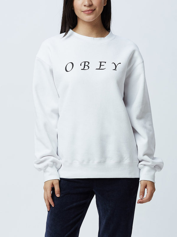 OBEY Refined Box Fit Crewneck White | OBEY Clothing