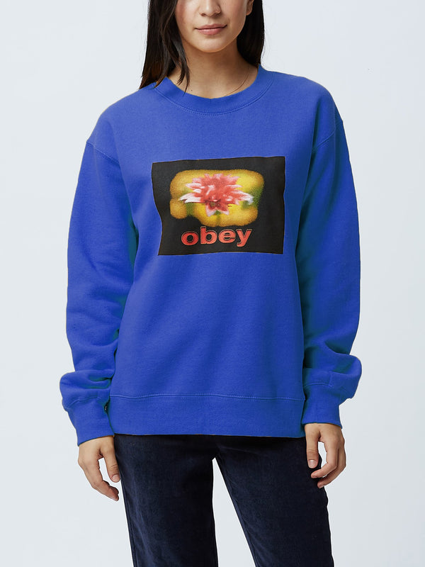 When The Sun Hits Box Fit Crewneck Royal Blue | OBEY Clothing