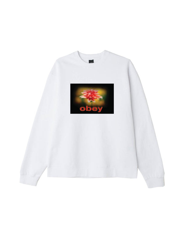 When The Sun Hits Box Fit Crewneck White | OBEY Clothing