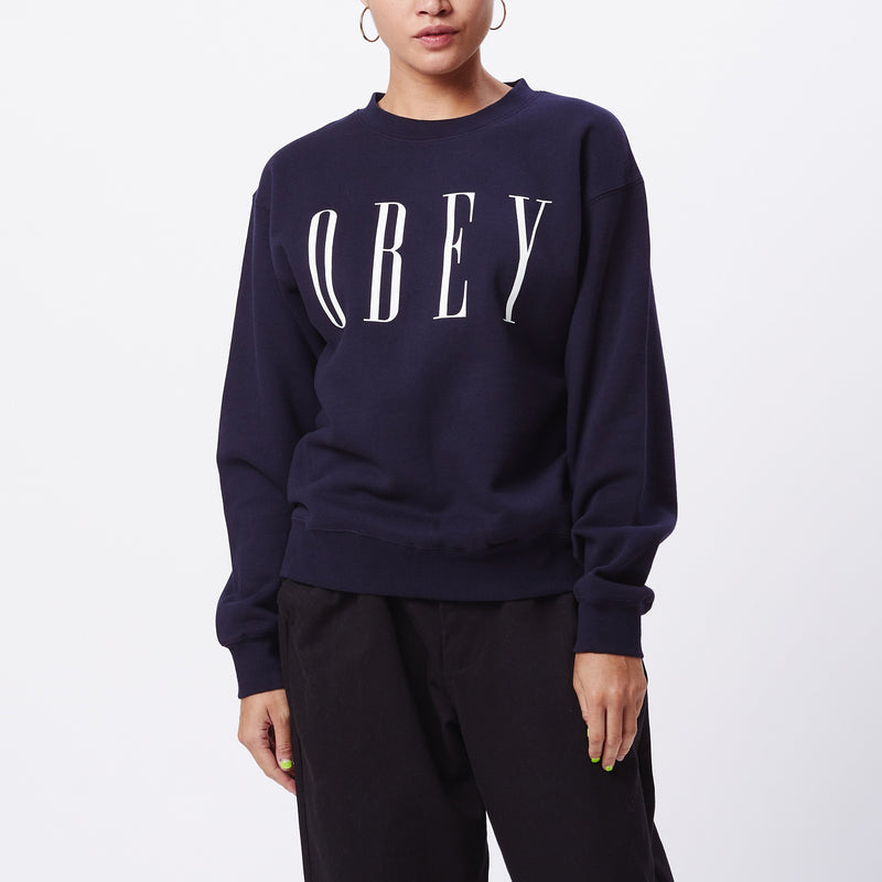 New Box Fit Crewneck Navy | OBEY Clothing