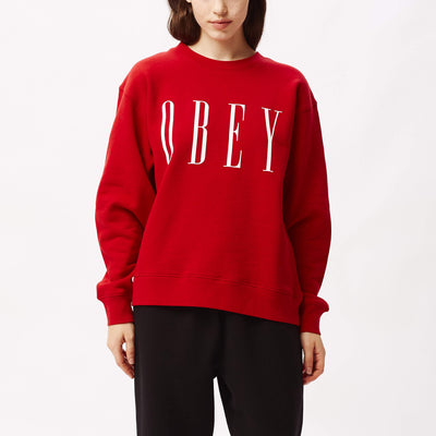 New Box Fit Crewneck Scarlet | OBEY Clothing