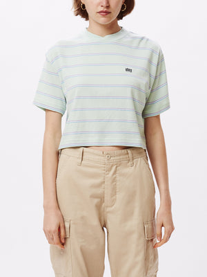 Ernie Cropped Mock T-Shirt Mint Multi | OBEY Clothing