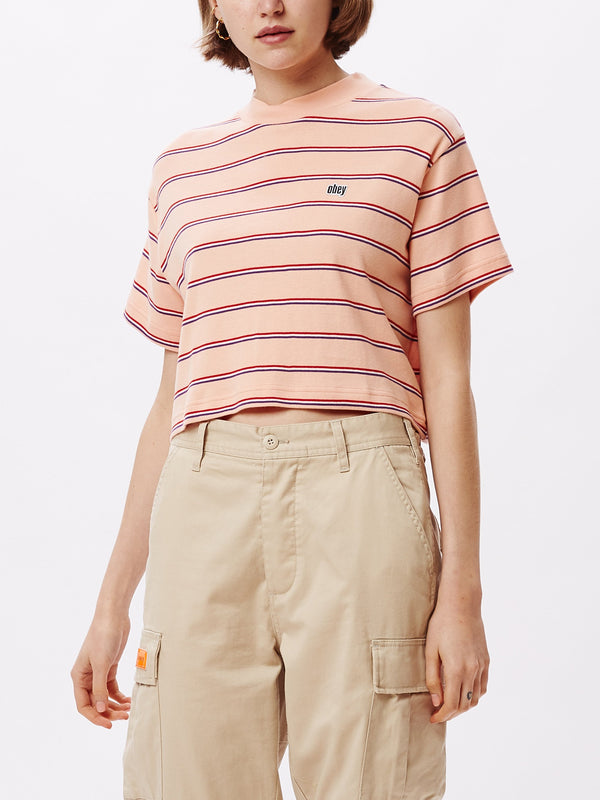 Ernie Cropped Mock T-Shirt Peach Multi | OBEY Clothing