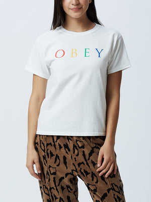 Novel OBEY 2 Shrunken Tee White Rainbow | OBEY Clothing