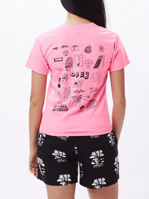 Tropical Trouble Shrunken T-Shirt Pink | OBEY Clothing