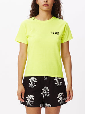 Tropical Trouble Shrunken T-Shirt Safety Green | OBEY Clothing