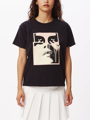 Noir Woman Icon II Custom Box T-Shirt Off Black | OBEY Clothing