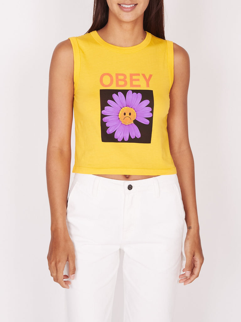 Sad Daisy Gwen Crop Tank Dusty Mustard | OBEY Clothing