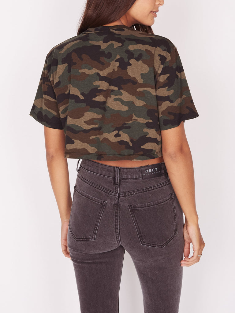 Foreign Candy Printed Jess Cropped Tee Camo | OBEY Clothing