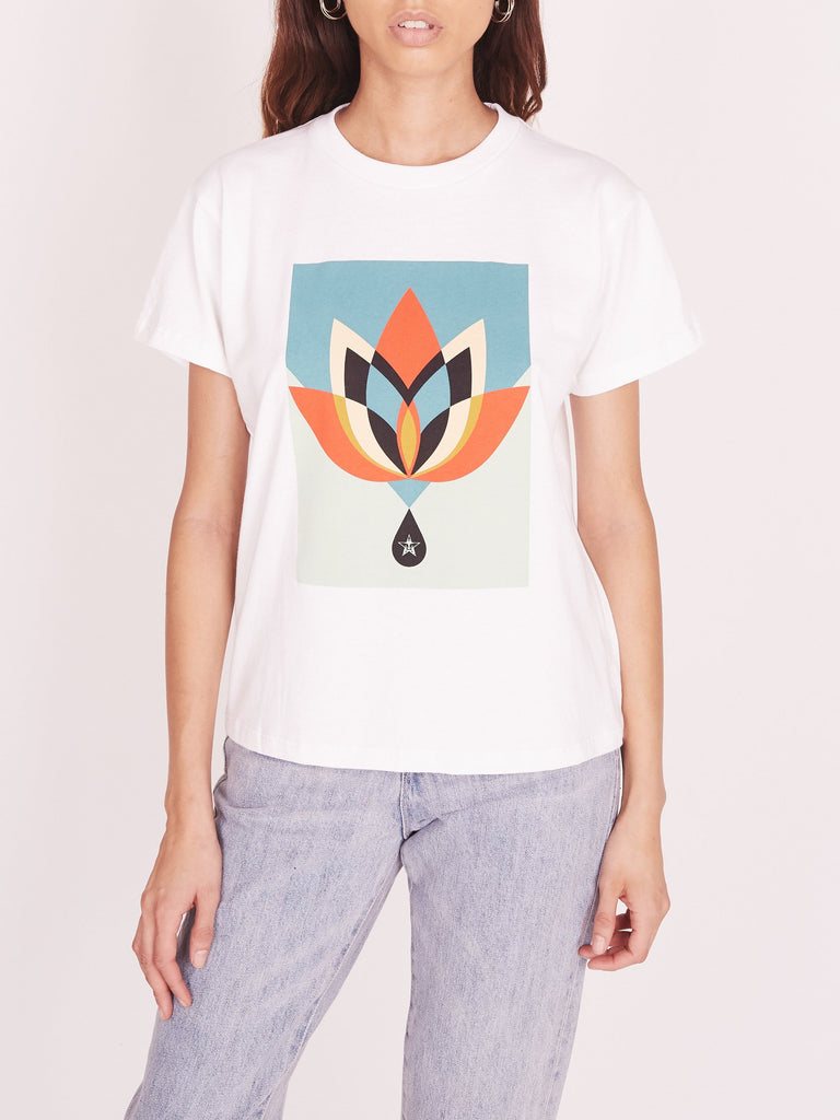 OBEY Geometric Flower Recycled Organic Tee White | OBEY Clothing