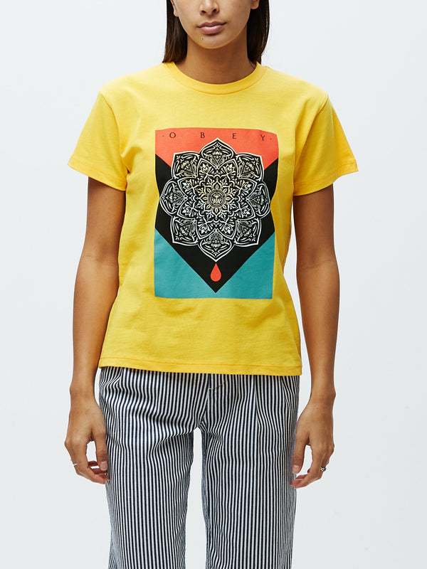 OBEY Blood & Oil Mandala Sustainable Tee Yellow | OBEY Clothing