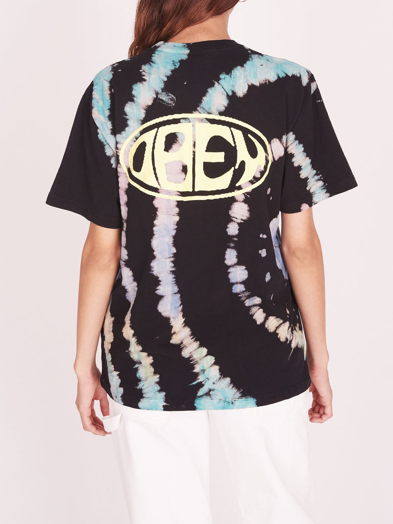 OBEY Bumper Rainbow Tie Dye Tee Black Rainbow | OBEY Clothing