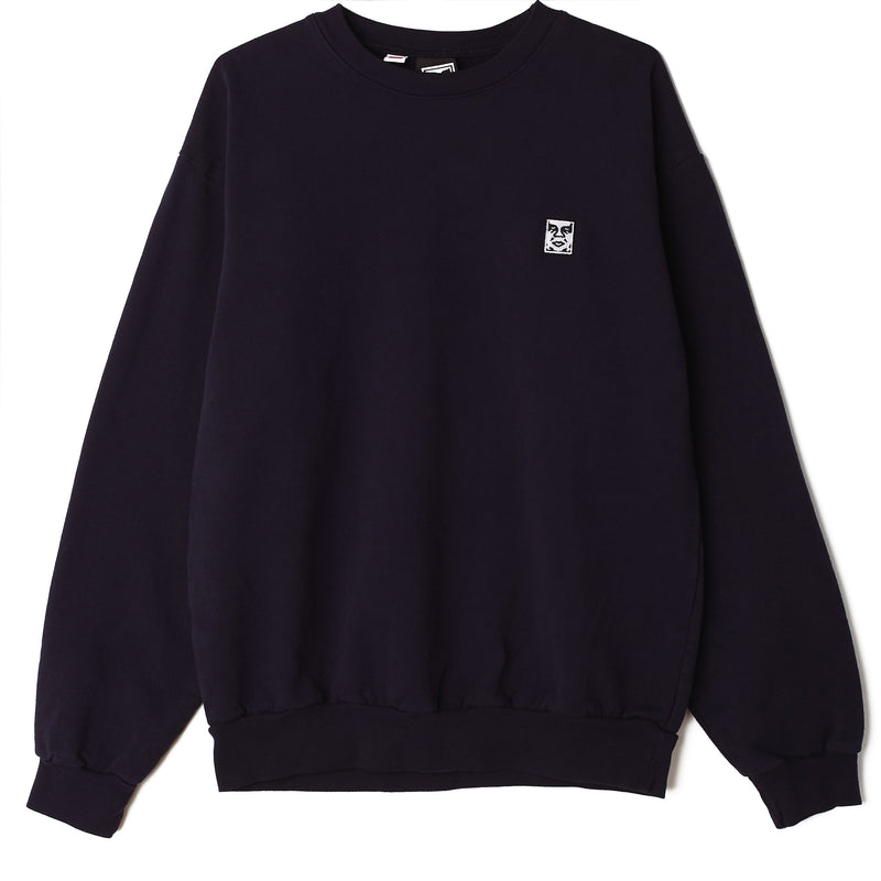 Icon Face II Heavyweight Crewneck Navy | OBEY Clothing