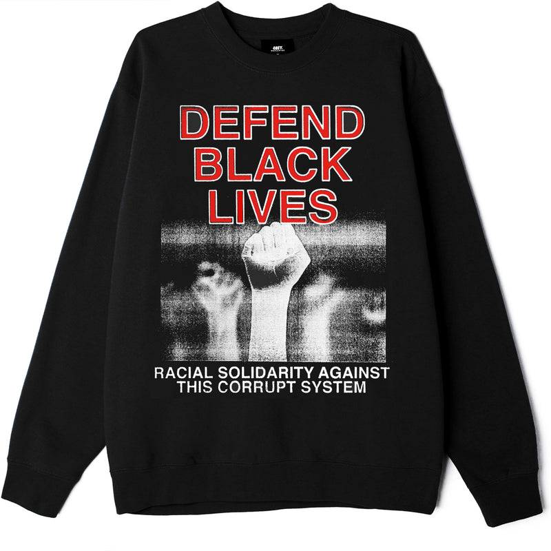 Defend Black Lives Old School Crew Black | OBEY Clothing