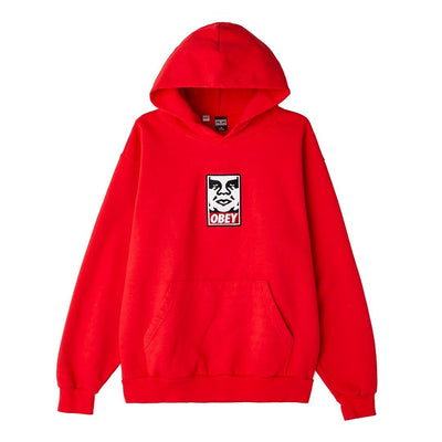 Icon Heavy Weight Pullover Hood Red | OBEY Clothing
