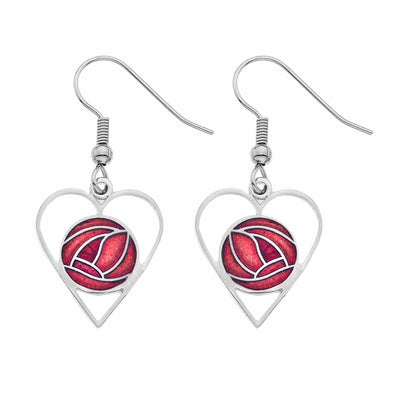 Red Enamel Mackintosh Rose Heart Earrings - Seashore Jewellery
