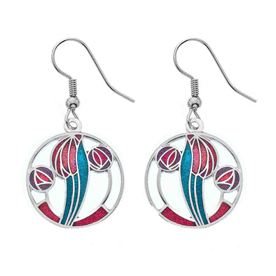Enamel Mackintosh Red Tulip and Rose Earrings - Seashore Jewellery