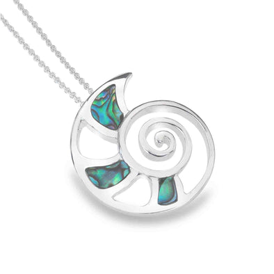 Sterling Silver Abalone Shell Ammonite Necklace - Seashore Jewellery