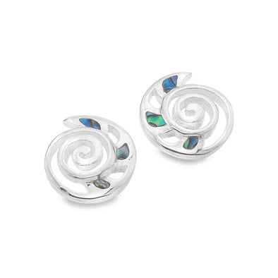 Sterling Silver Abalone Shell Ammonite Stud Earrings - Seashore Jewellery