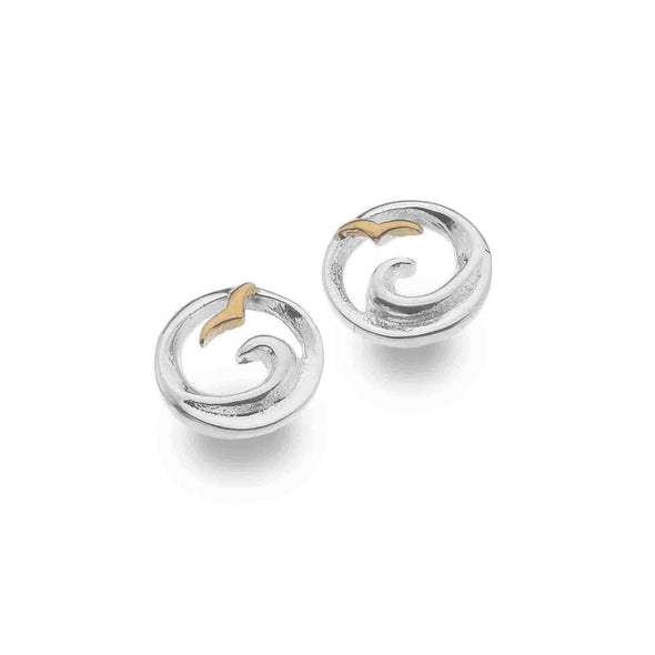 Sterling Silver Ocean Wave Stud Earrings - Seashore Jewellery