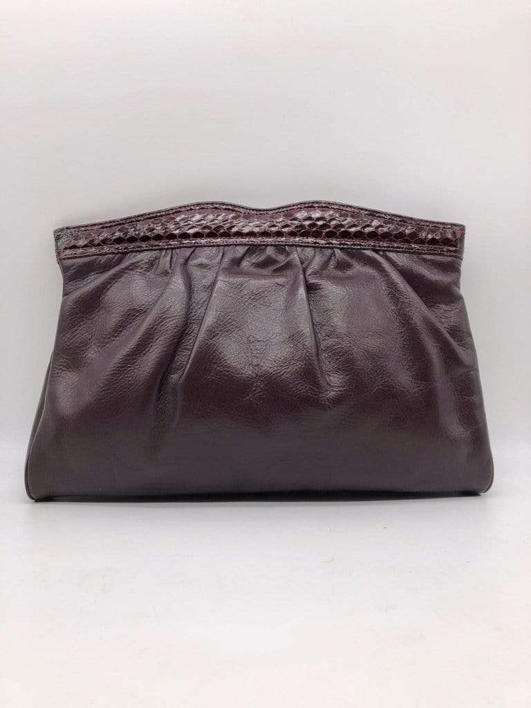 HOUSE OF STRUT ACCESSORIES Brown Clutch w/ Python Skin by Bags by Supreme women-men-vintage-clothing