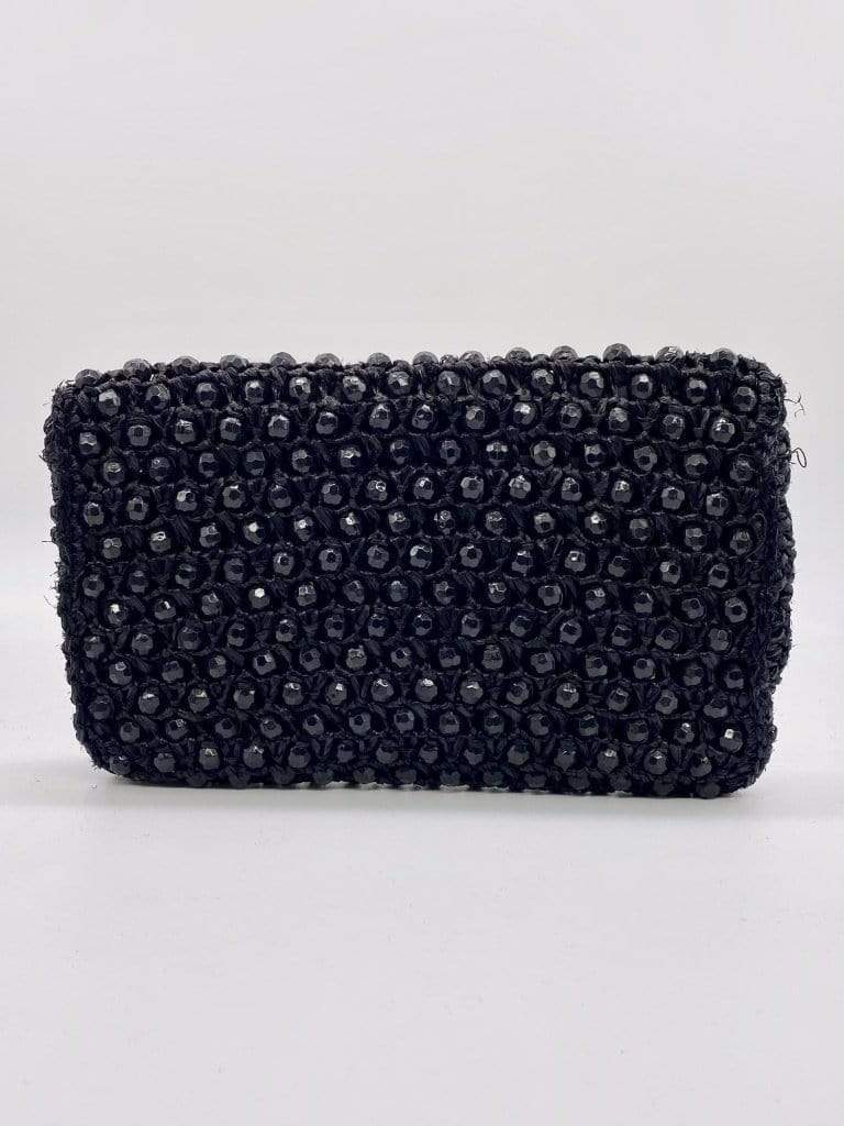 HOUSE OF STRUT ACCESSORIES Woven Black Beaded Clutch women-men-vintage-clothing
