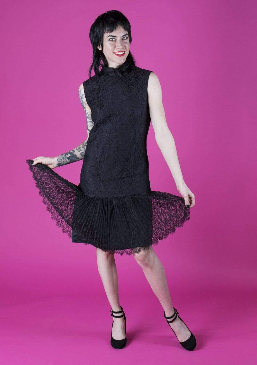 House of Strut DRESSES Black Lace Sleeveless Mod Dress w/ Pleated Trim by The Collection
