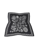 Black and White Flower Satin Bandana