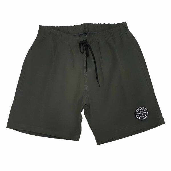 MENS ELASTICATED COTTON TWILL SHORTS - OLIVE