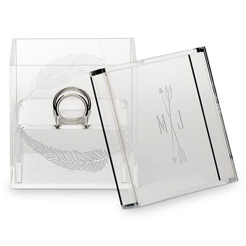 Acrylic Wedding Ring Box - Arrow and Feathers