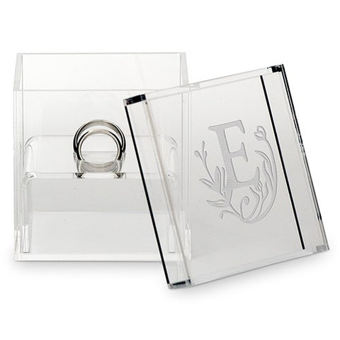 Acrylic Wedding Ring Box - Storybook Monogram