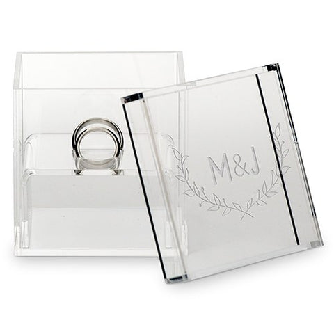 Acrylic Wedding Ring Box - Couple Initials with Rustic Leaves