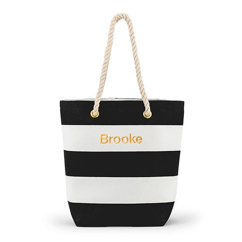 Striped Beach Bag - Black and White