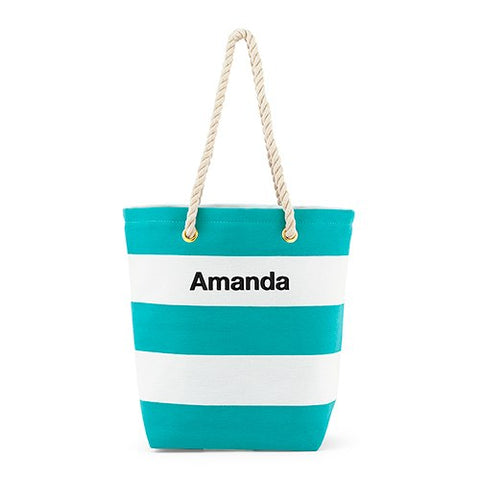 Striped Beach Bag - Blue and White