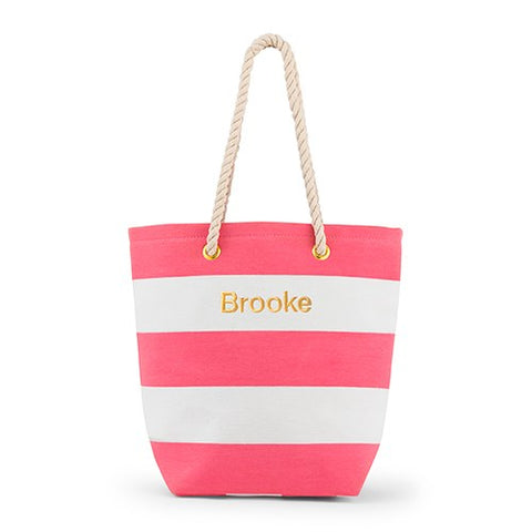 Striped Beach Bag - Pink and White