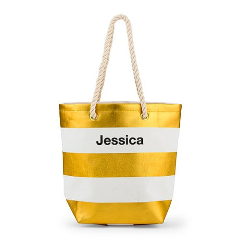 Striped Beach Bag - Metallic Gold and White
